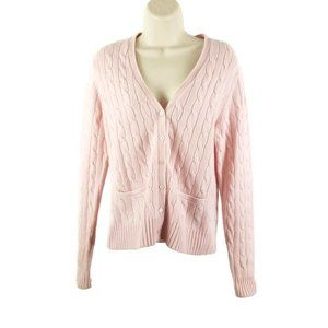 Brooks Brothers Cable Knit Cashmere Wool Cardigan